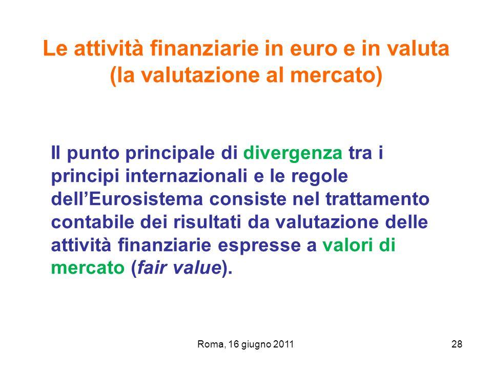Roma, 16 giugno 201128 Le attività finanziarie in euro e in valuta (la valutazione al mercato) Il punto principale di divergenza tra i principi intern