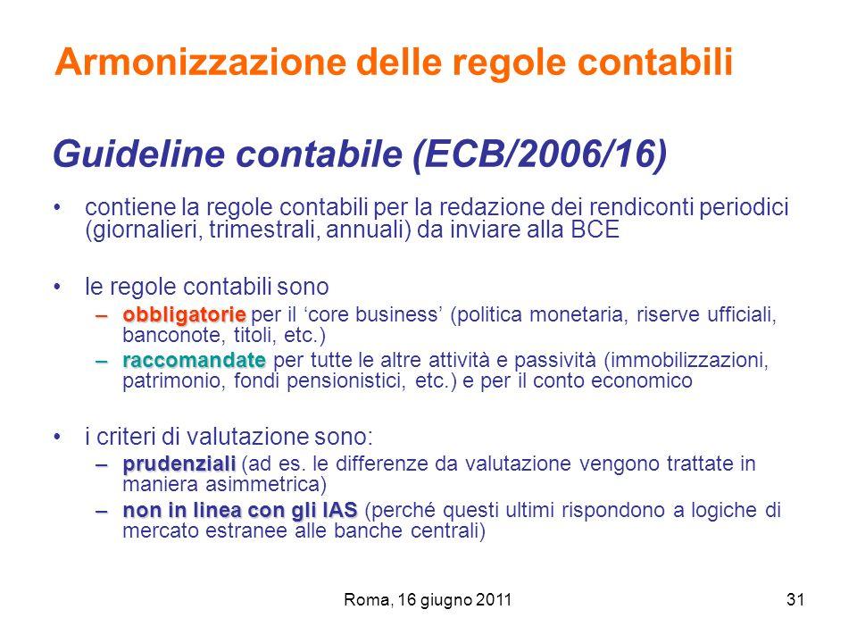 Roma, 16 giugno 201131 Armonizzazione delle regole contabili Guideline contabile (ECB/2006/16) contiene la regole contabili per la redazione dei rendi