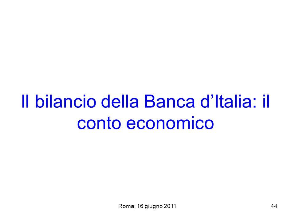 Roma, 16 giugno 201144 Il bilancio della Banca dItalia: il conto economico