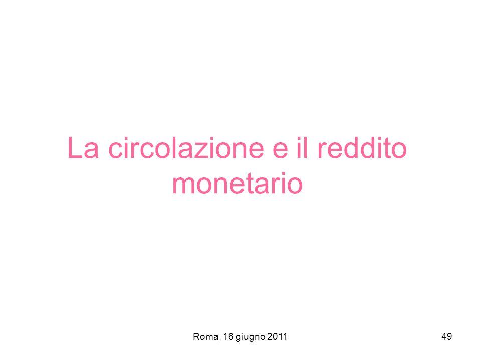 Roma, 16 giugno 201149 La circolazione e il reddito monetario