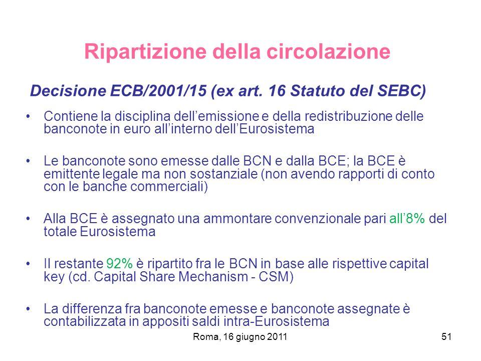 Roma, 16 giugno 201151 Ripartizione della circolazione Decisione ECB/2001/15 (ex art. 16 Statuto del SEBC) Contiene la disciplina dellemissione e dell