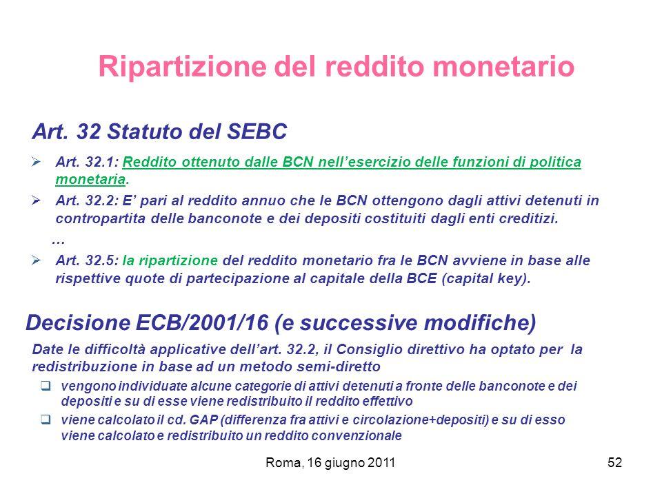 Roma, 16 giugno 201152 Ripartizione del reddito monetario Art. 32 Statuto del SEBC Art. 32.1: Reddito ottenuto dalle BCN nellesercizio delle funzioni