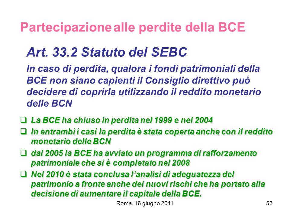 Roma, 16 giugno 201153 Partecipazione alle perdite della BCE Art. 33.2 Statuto del SEBC In caso di perdita, qualora i fondi patrimoniali della BCE non