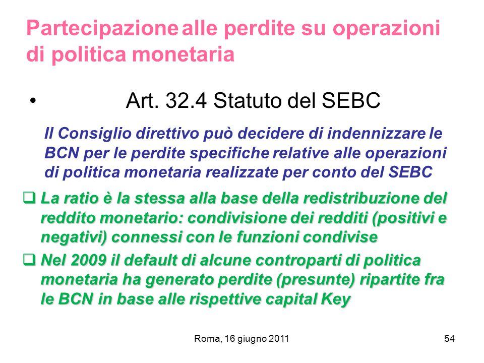 Art. 32.4 Statuto del SEBC Roma, 16 giugno 201154 Partecipazione alle perdite su operazioni di politica monetaria Il Consiglio direttivo può decidere