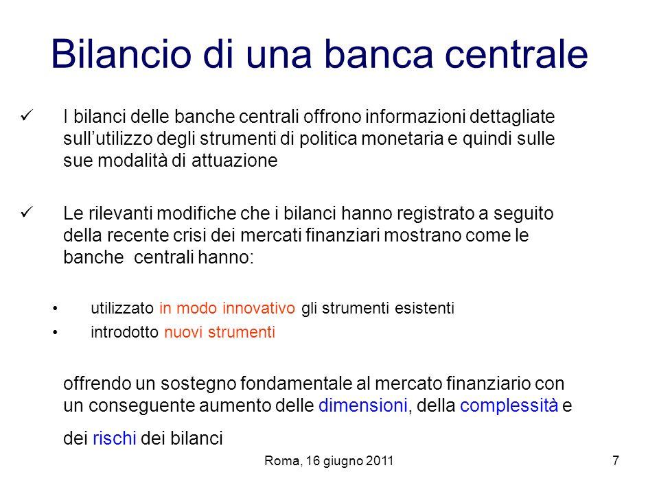 Roma, 16 giugno 20117 Bilancio di una banca centrale I bilanci delle banche centrali offrono informazioni dettagliate sullutilizzo degli strumenti di