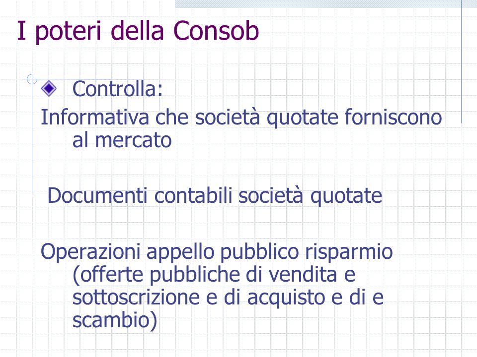 I poteri della Consob Autorizza: Iscrizione Albi (SIM, promotori, soc. revisione) Pubblicazione prospetti e documenti dofferta Esercizio società gesti