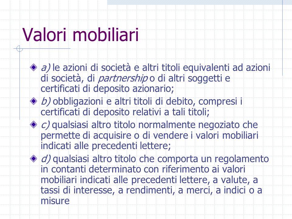 Nozione di strumento finanziario Valori mobiliari Strumenti del mercato monetario Quote di organismi dinvestimento collettivo Strumenti derivati ( es.