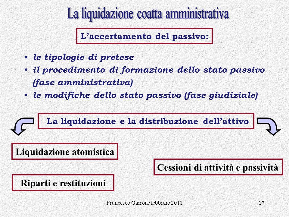Francesco Garrone febbraio 201117 le tipologie di pretese il procedimento di formazione dello stato passivo (fase amministrativa) le modifiche dello s