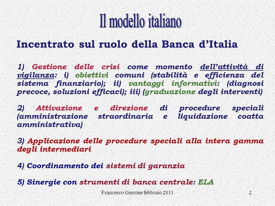 Francesco Garrone febbraio 20112 Incentrato sul ruolo della Banca dItalia 1) Gestione delle crisi come momento dellattività di vigilanza: i) obiettivi