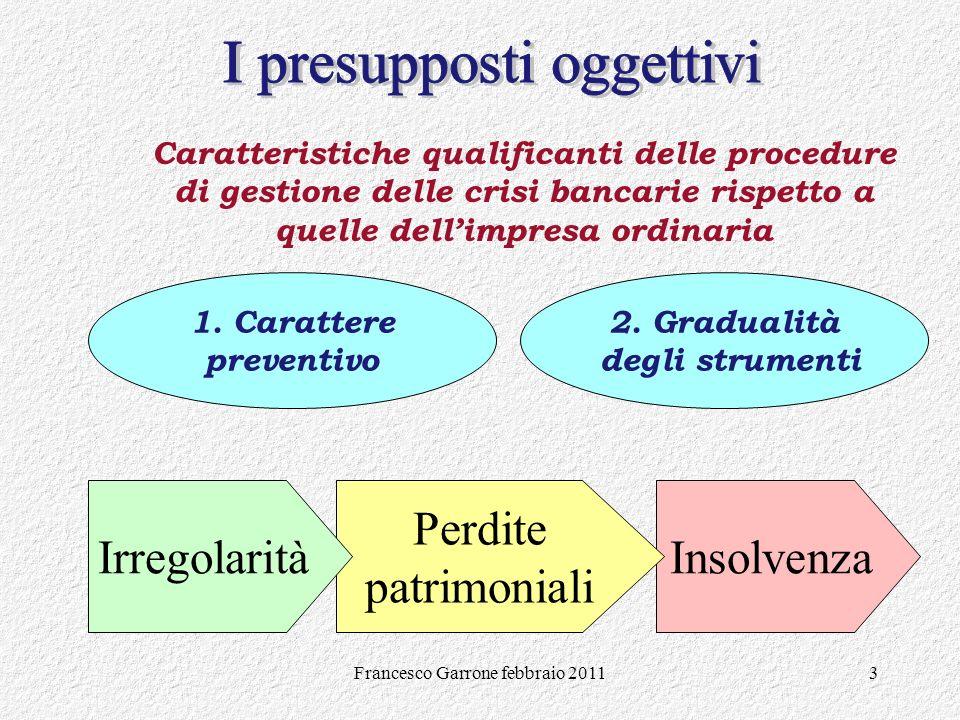 Francesco Garrone febbraio 20113 Insolvenza Caratteristiche qualificanti delle procedure di gestione delle crisi bancarie rispetto a quelle dellimpres