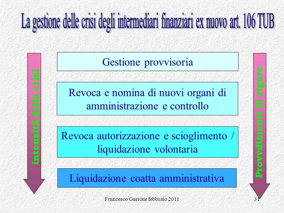 Francesco Garrone febbraio 201131 Gestione provvisoria Revoca e nomina di nuovi organi di amministrazione e controllo Liquidazione coatta amministrati