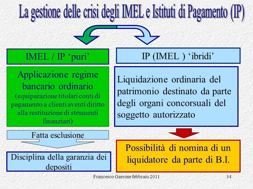 Francesco Garrone febbraio 201134 IMEL / IP puri Applicazione regime bancario ordinario (equiparazione titolari conti di pagamento a clienti aventi di