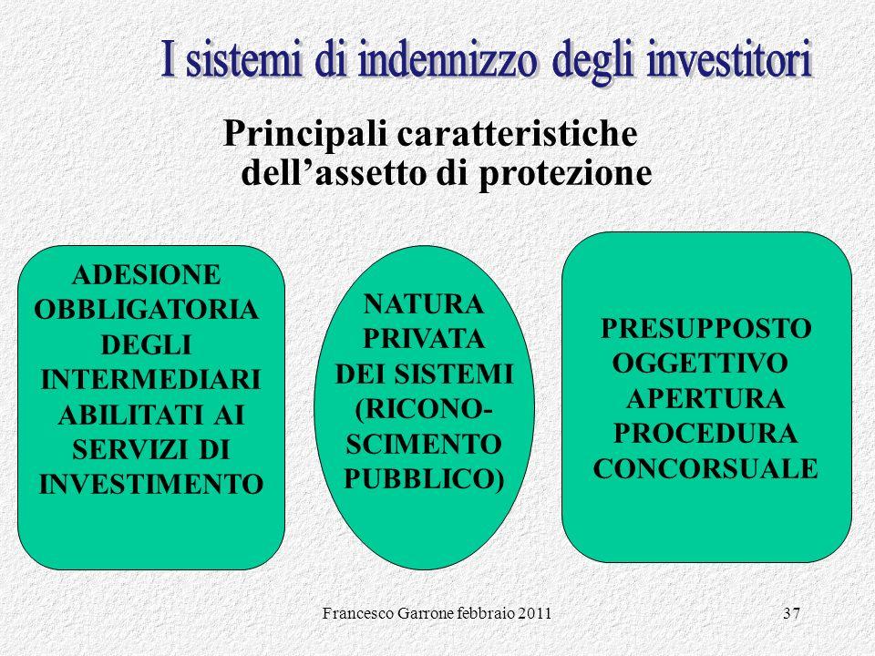 Francesco Garrone febbraio 201137 Principali caratteristiche dellassetto di protezione ADESIONE OBBLIGATORIA DEGLI INTERMEDIARI ABILITATI AI SERVIZI D