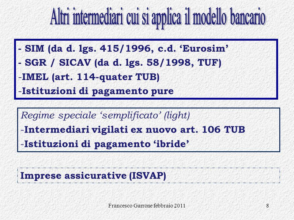 Francesco Garrone febbraio 20118 - SIM (da d. lgs. 415/1996, c.d. Eurosim - SGR / SICAV (da d. lgs. 58/1998, TUF) - IMEL (art. 114-quater TUB) - Istit