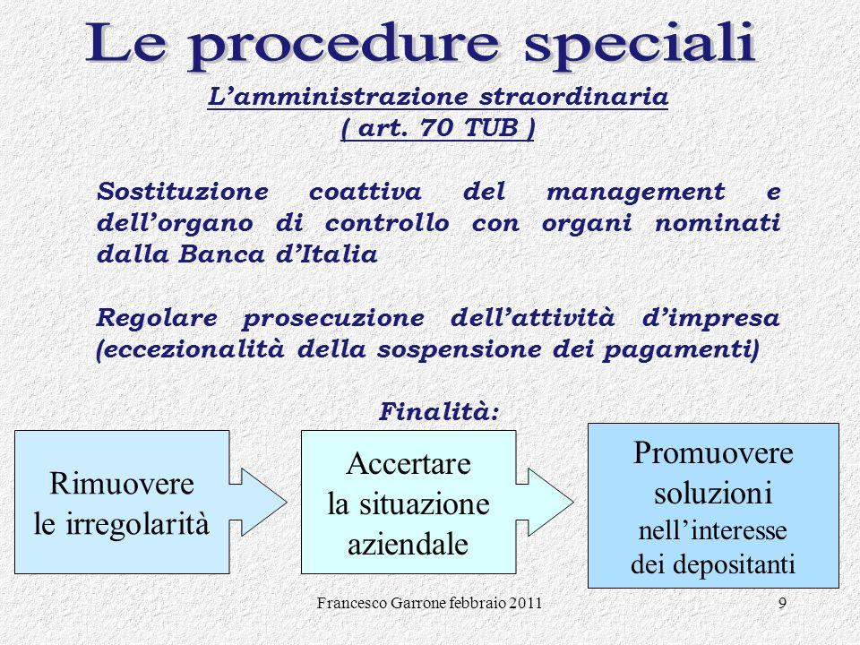 Francesco Garrone febbraio 20119 Promuovere soluzioni nellinteresse dei depositanti Lamministrazione straordinaria ( art. 70 TUB ) Sostituzione coatti