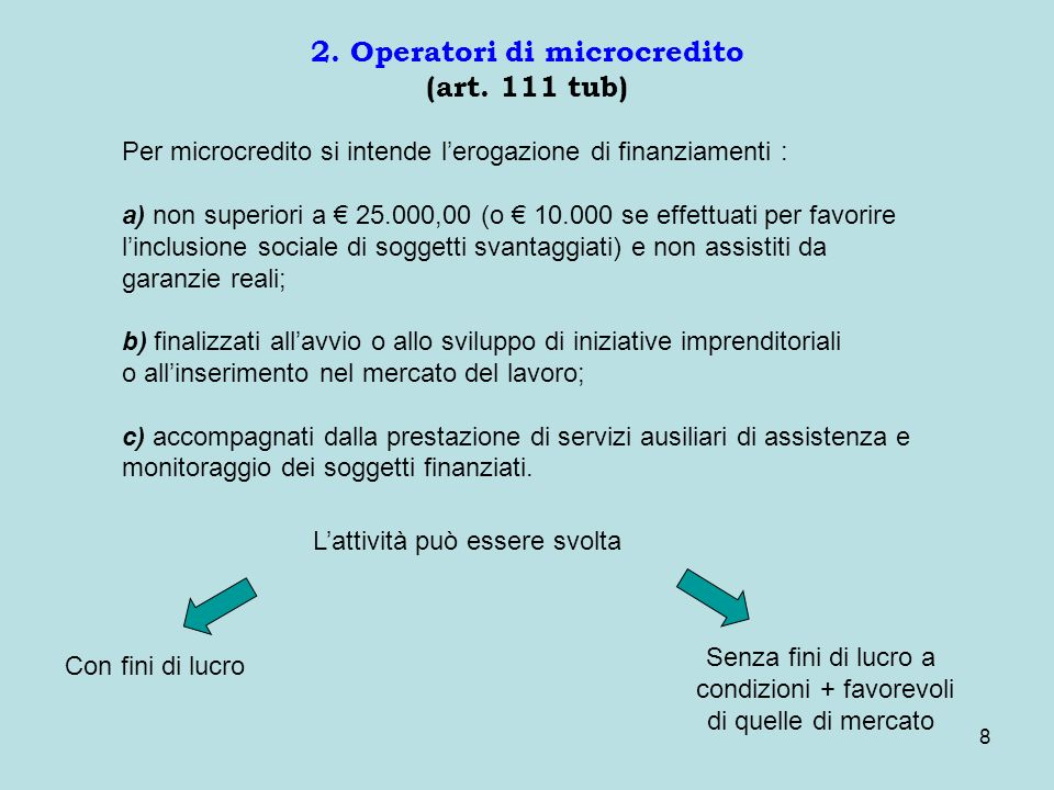 8 2. Operatori di microcredito (art.