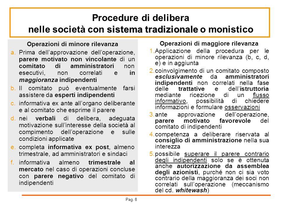 Procedure di delibera sistema tradizionale nelle società con sistema tradizionale o monistico Operazioni di minore rilevanza a.Prima dellapprovazione
