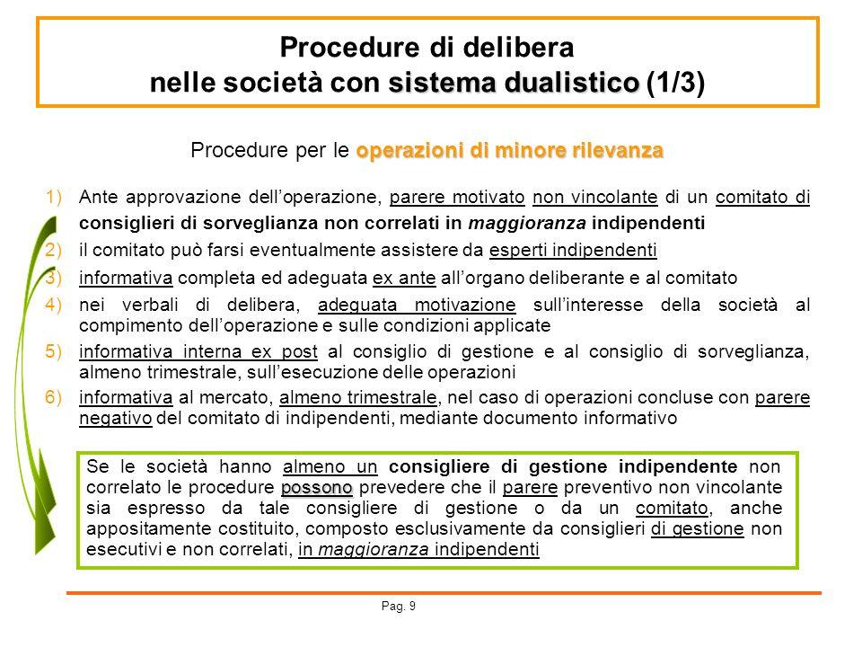 Procedure di delibera sistema dualistico nelle società con sistema dualistico (1/3) operazioni di minore rilevanza Procedure per le operazioni di mino