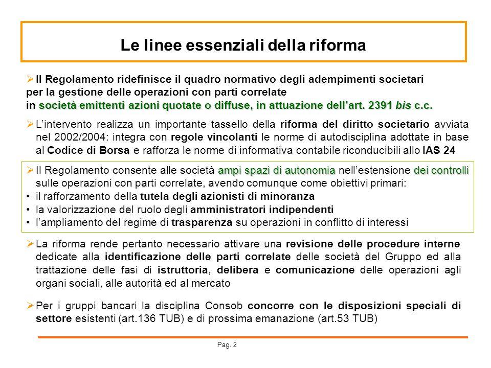 Le linee essenziali della riforma Per i gruppi bancari la disciplina Consob concorre con le disposizioni speciali di settore esistenti (art.136 TUB) e