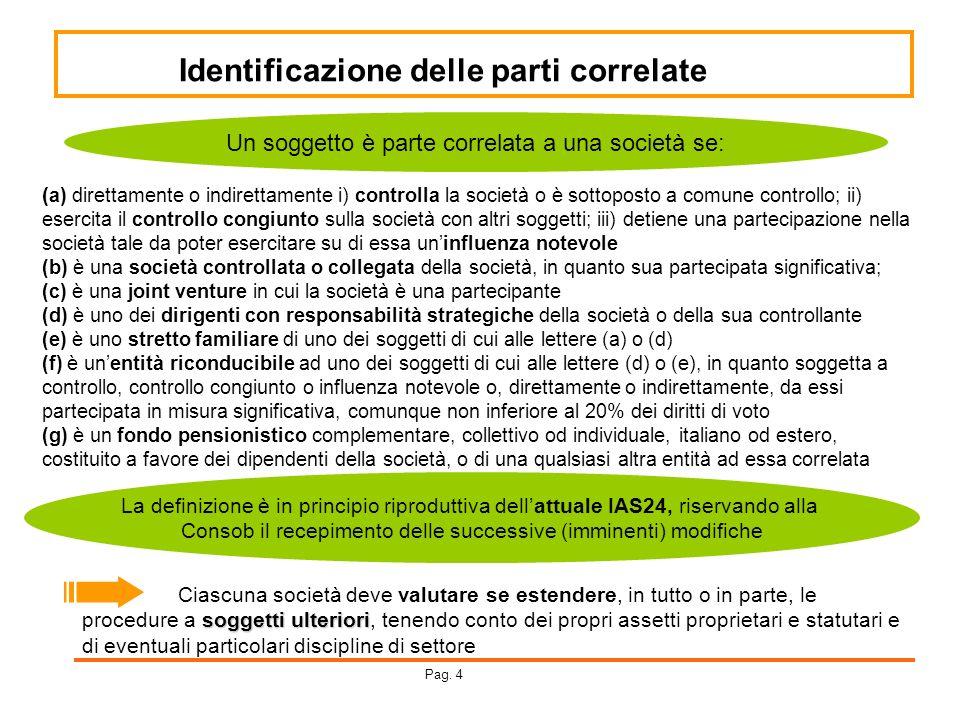 Identificazione delle parti correlate ( a) direttamente o indirettamente i) controlla la società o è sottoposto a comune controllo; ii) esercita il co