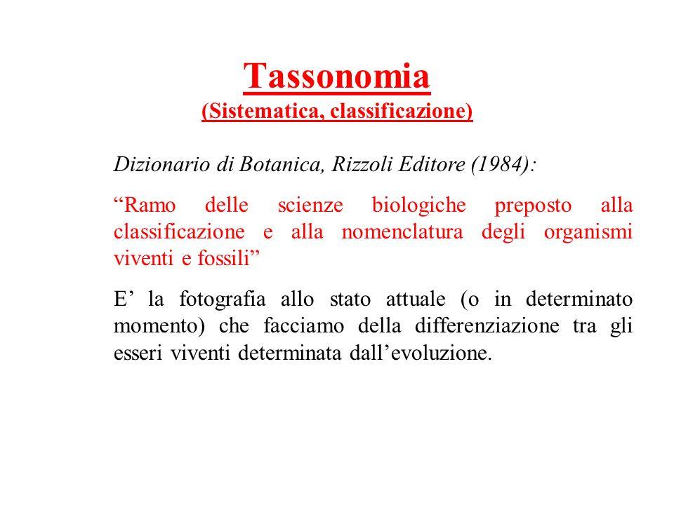 Tassonomia (Sistematica, classificazione) Dizionario di Botanica, Rizzoli Editore (1984): Ramo delle scienze biologiche preposto alla classificazione