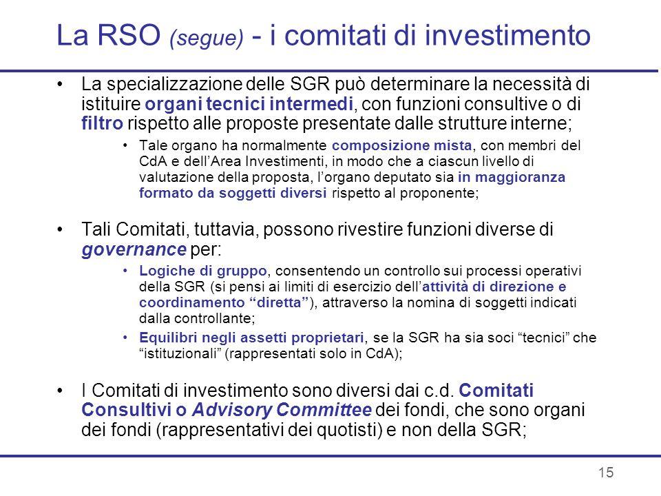 15 La RSO (segue) - i comitati di investimento La specializzazione delle SGR può determinare la necessità di istituire organi tecnici intermedi, con f