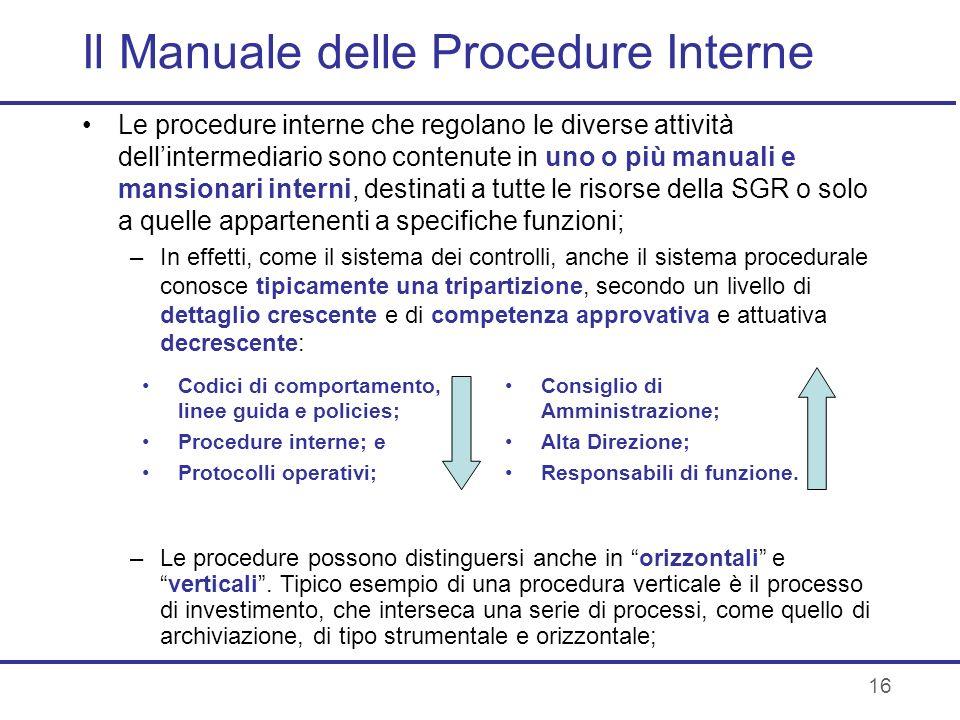 16 Il Manuale delle Procedure Interne Le procedure interne che regolano le diverse attività dellintermediario sono contenute in uno o più manuali e ma