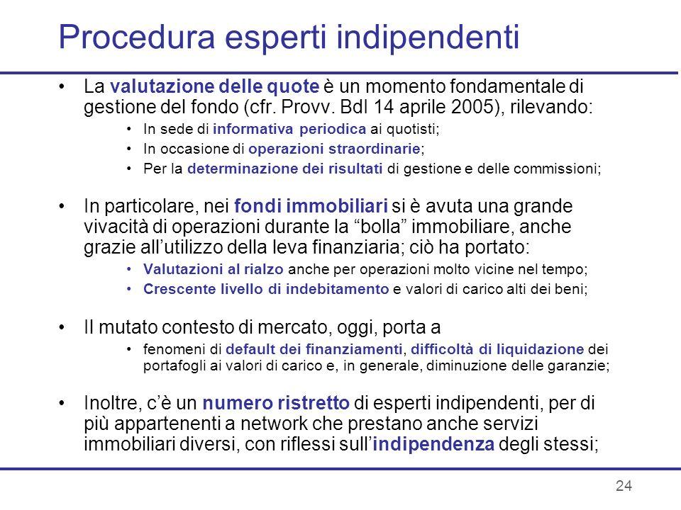 24 Procedura esperti indipendenti La valutazione delle quote è un momento fondamentale di gestione del fondo (cfr. Provv. BdI 14 aprile 2005), rilevan