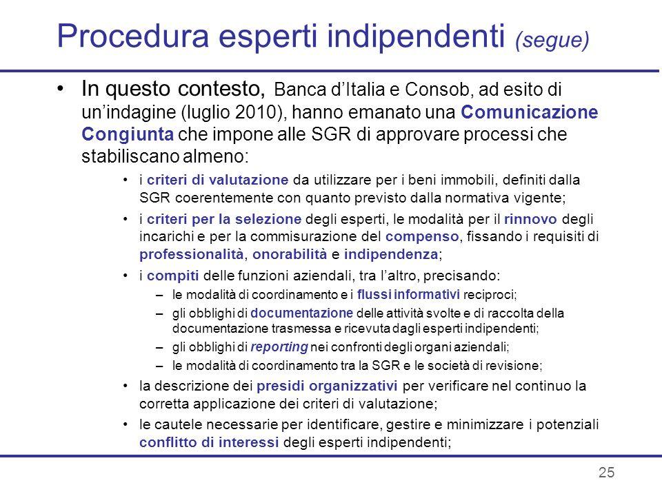 25 Procedura esperti indipendenti (segue) In questo contesto, Banca dItalia e Consob, ad esito di unindagine (luglio 2010), hanno emanato una Comunica