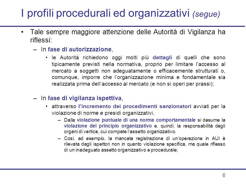 6 I profili procedurali ed organizzativi (segue) Tale sempre maggiore attenzione delle Autorità di Vigilanza ha riflessi: –In fase di autorizzazione,