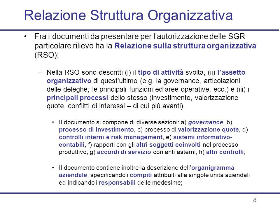 8 Relazione Struttura Organizzativa Fra i documenti da presentare per lautorizzazione delle SGR particolare rilievo ha la Relazione sulla struttura or