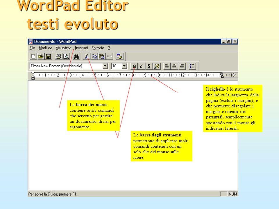 La barra dei menu: contiene tutti i comandi che servono per gestire un documento, divisi per argomento Le barre degli strumenti permettono di applicar