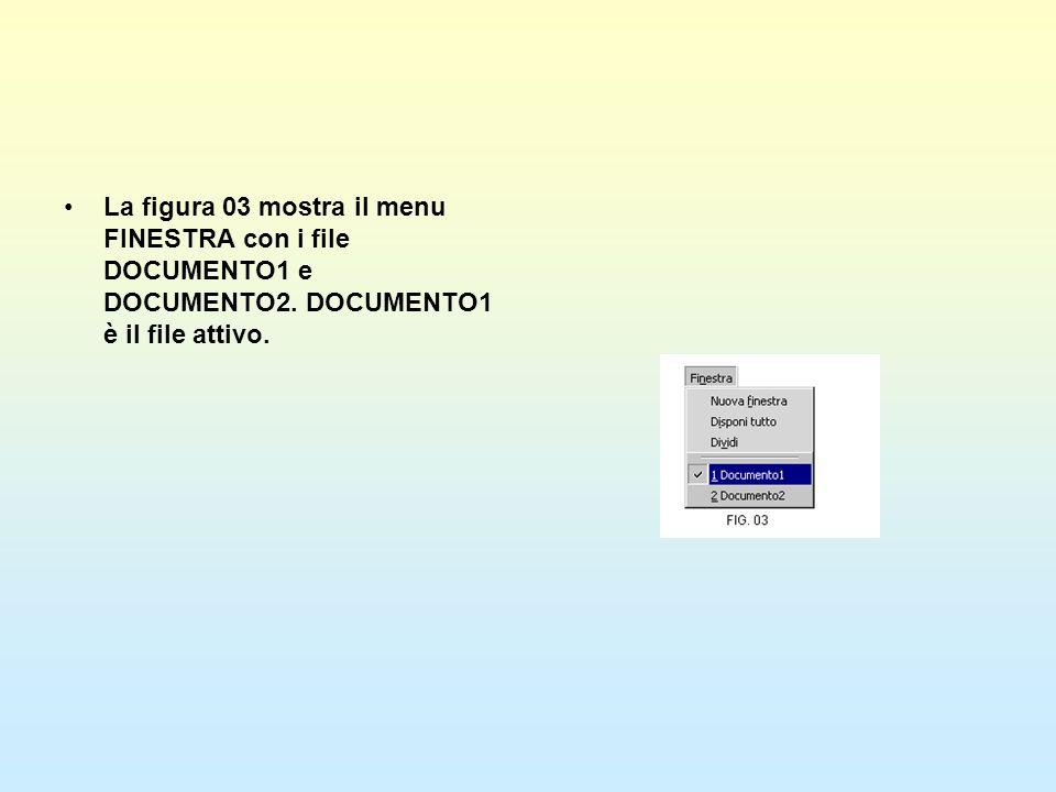 La figura 03 mostra il menu FINESTRA con i file DOCUMENTO1 e DOCUMENTO2. DOCUMENTO1 è il file attivo.