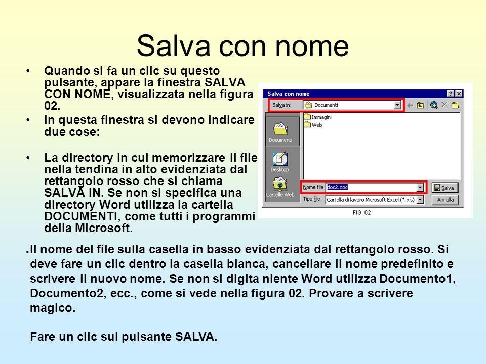 Salva con nome Quando si fa un clic su questo pulsante, appare la finestra SALVA CON NOME, visualizzata nella figura 02. In questa finestra si devono