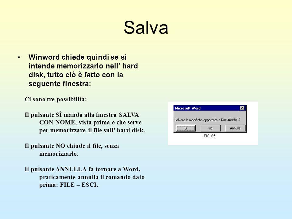 Salva Winword chiede quindi se si intende memorizzarlo nell hard disk, tutto ciò è fatto con la seguente finestra: Ci sono tre possibilità: Il pulsant