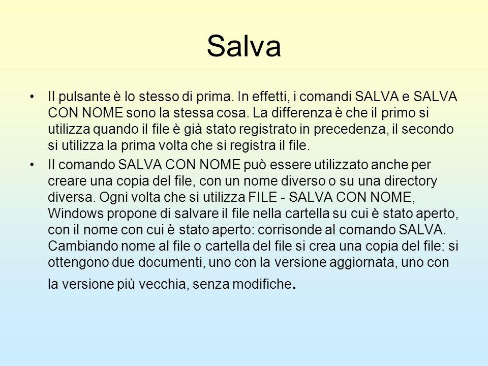 Salva Il pulsante è lo stesso di prima. In effetti, i comandi SALVA e SALVA CON NOME sono la stessa cosa. La differenza è che il primo si utilizza qua