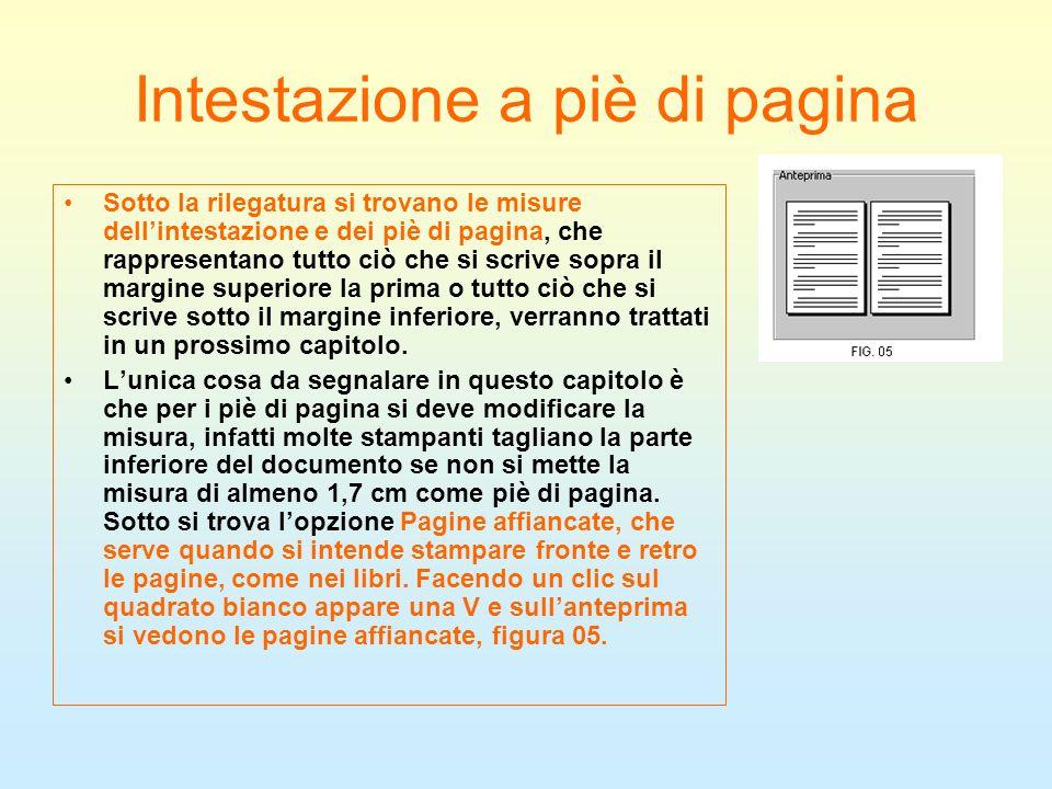 Intestazione a piè di pagina Sotto la rilegatura si trovano le misure dellintestazione e dei piè di pagina, che rappresentano tutto ciò che si scrive