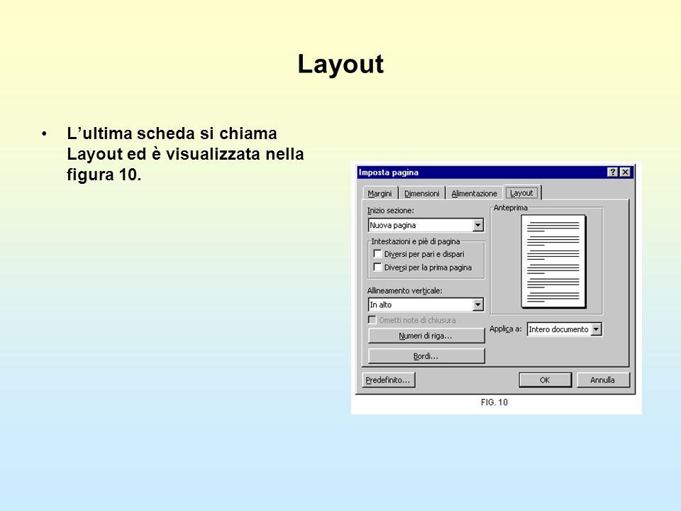 Layout Lultima scheda si chiama Layout ed è visualizzata nella figura 10.