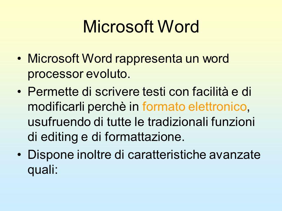 Microsoft Word Microsoft Word rappresenta un word processor evoluto. Permette di scrivere testi con facilità e di modificarli perchè in formato elettr