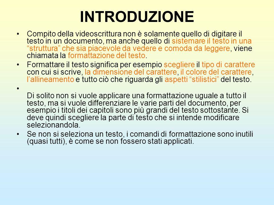 INTRODUZIONE Compito della videoscrittura non è solamente quello di digitare il testo in un documento, ma anche quello di sistemare il testo in una st