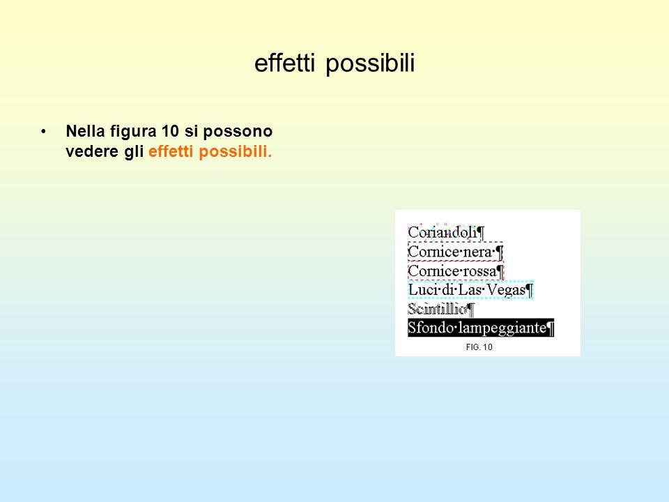 effetti possibili Nella figura 10 si possono vedere gli effetti possibili.