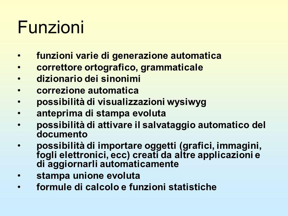 Funzioni funzioni varie di generazione automatica correttore ortografico, grammaticale dizionario dei sinonimi correzione automatica possibilità di vi