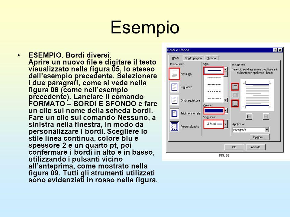 Esempio ESEMPIO. Bordi diversi. Aprire un nuovo file e digitare il testo visualizzato nella figura 05, lo stesso dellesempio precedente. Selezionare i