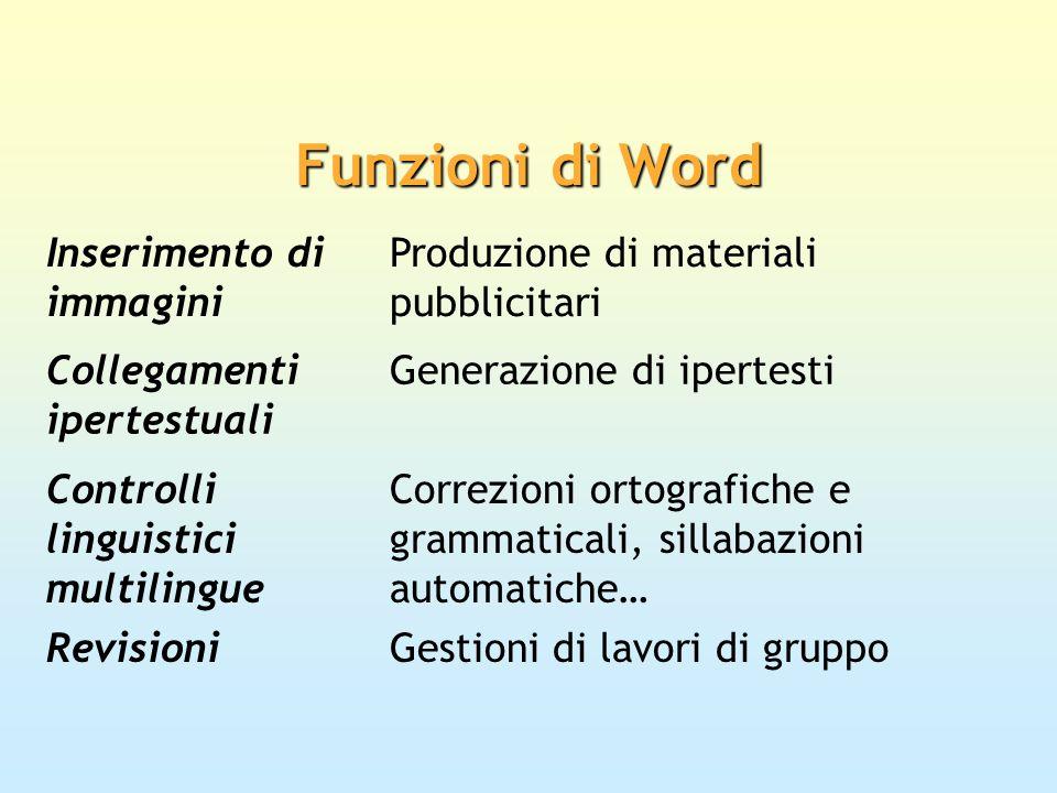 Inserimento di immagini Produzione di materiali pubblicitari Collegamenti ipertestuali Generazione di ipertesti Controlli linguistici multilingue Corr