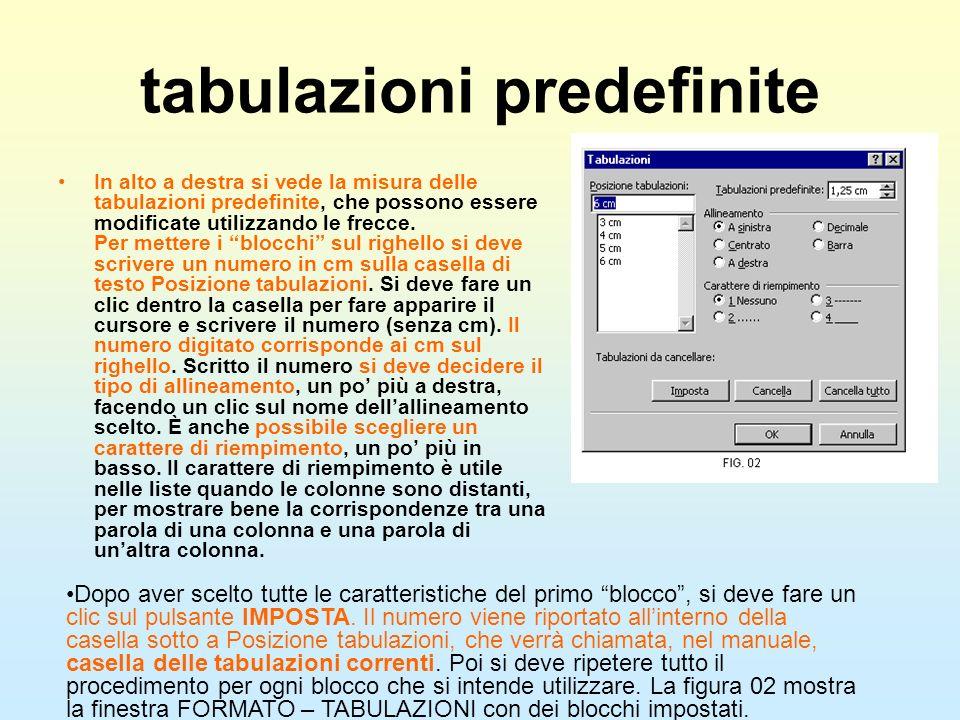 tabulazioni predefinite In alto a destra si vede la misura delle tabulazioni predefinite, che possono essere modificate utilizzando le frecce. Per met