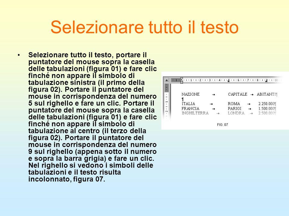 Selezionare tutto il testo Selezionare tutto il testo, portare il puntatore del mouse sopra la casella delle tabulazioni (figura 01) e fare clic finch