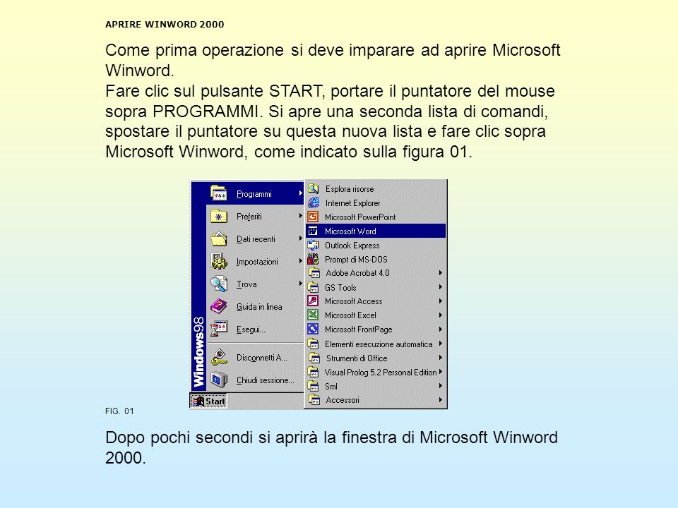 APRIRE WINWORD 2000 Come prima operazione si deve imparare ad aprire Microsoft Winword. Fare clic sul pulsante START, portare il puntatore del mouse s
