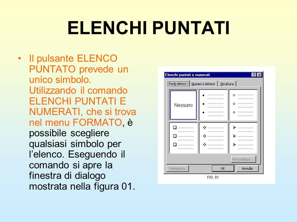 ELENCHI PUNTATI Il pulsante ELENCO PUNTATO prevede un unico simbolo. Utilizzando il comando ELENCHI PUNTATI E NUMERATI, che si trova nel menu FORMATO,