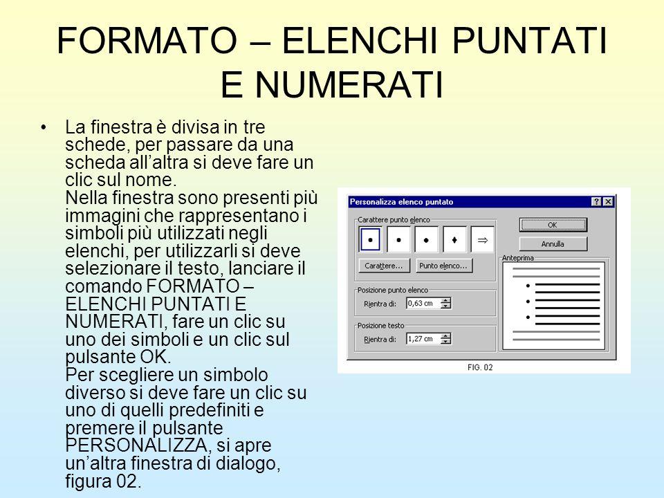 FORMATO – ELENCHI PUNTATI E NUMERATI La finestra è divisa in tre schede, per passare da una scheda allaltra si deve fare un clic sul nome. Nella fines