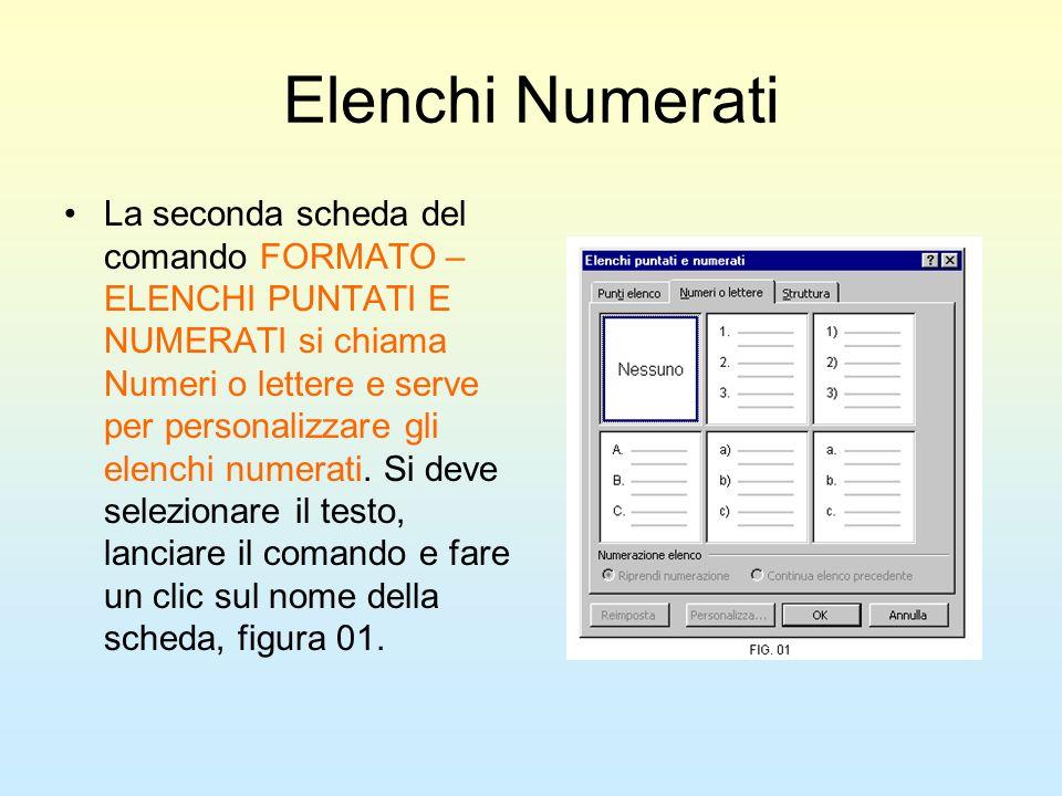 Elenchi Numerati La seconda scheda del comando FORMATO – ELENCHI PUNTATI E NUMERATI si chiama Numeri o lettere e serve per personalizzare gli elenchi